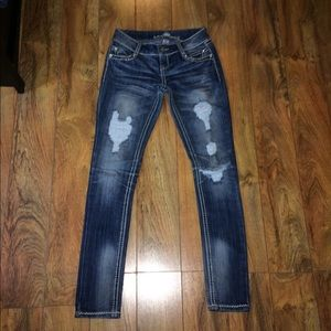 Almost Famous skinny destructed jeans